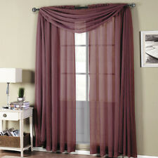 Royal Textiles Abri Eggplant Rod Pocket Crushed Sheer Curtain Panel