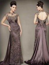 Custom Backless Noble Mermaid Brown Mother of the Bride Dresses Lace Sleeveless