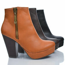 Huxley06 Almond Toe Zip Up Platform Thick Stacked High Heel Ankle Booties