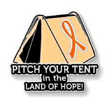 Orange Ribbon Awareness Tent Pin Many Cancer Causes Animal Abuse Melanoma Lupus