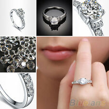Women's Vintage 14K White Gold Plated Shining Rhinestone Wedding Jewelry Ring