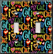 Switch Plates And Outlets - Colorful I Love My Cat - Animal Home Decor - Cats