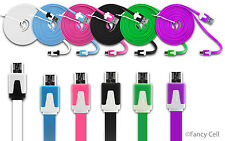 6ft Heavy Duty Data Sync Charging Flat Tangle Free Cable Cord For Cell Phones