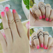 Womens Urban Plain 5pcs Fashion V-Shaped Round Ring Set Knuckle Mid Band Ring