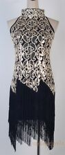 1920's Flapper Dress Clubwear Great Gatsby Sexy Sequin Tassel Black WC 3225