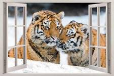 TIGERS 3D Window View Decal WALL STICKER Home Decor Art Mural Wild Animals