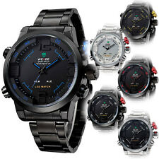 Men Digital LED Date Analog Big Face Sport Stainless Steel Quartz Watch eb