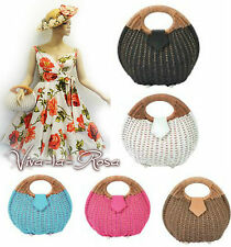 New Retro Vintage 1940's 1950's style woven Basket Handbag Rockabilly Box Bag