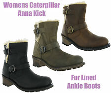 CAT Caterpillar Anna Kick Fur Lined Leather Ankle Womens Boots UK3-8