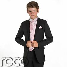 Boys Black Suit, Page Boy Suits, Prom Suits, Boys Wedding Suits, Pink Waistcoat