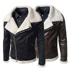 winter Mens Air Force pilot leather fur lining thick warm jacket coat outwear