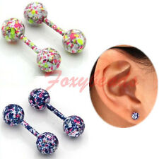 10pcs Stainless Steel Cartilage Helix Tragus Ring Ear Barbell Stud Earring 18G