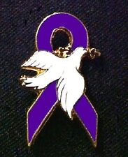Purple Ribbon Awareness Pins White Hope Dove Many Cancer Cause Inspirational USA