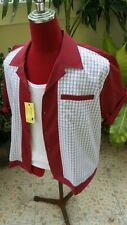 Hand Made 1950's Style Mens Rockabilly Bowling Shirt Burgundy & Check front