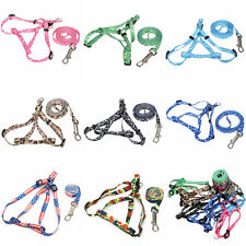 6 Color Small Pet Dog Cat Bone Paws Print Rope Lead Leash Harness Assorted New