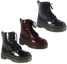 WOMENS LADIES ANKLE LACE UP PATENT FLAT COMBAT ARMY PUNK GOTH BOOTS SHOES SIZE