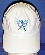 Blue Awareness Ribbon Butterfly Hat White Baseball Cap Colon Cancer Child Abuse