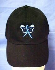Blue Awareness Ribbon Butterfly Black Baseball Cap Colon Cancer Child Abuse New