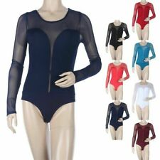 Sheer Mesh Inset Long Sleeve Bodysuit Snap Button Closure Sexy Rayon Span S M L