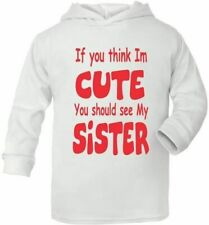 Think I'm Cute See My Sister Cute Present Baby New Born Gift  Supersoft Baby Hoo