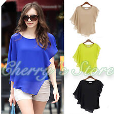 New Fashion Casual Women's Short Sleeve Bat Chiffon T-Shirt Tops Summer Blouse