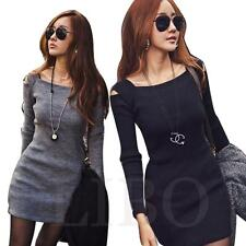 Women Dress Sexy MIni Long Sleeve Slim Fit Off Shoulder Sweater Knitwear Bodycon