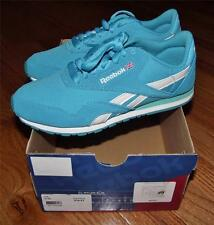 NEW Reebok Womens CL Nylon Slim Classic Sneakers Size 5 or 6 Teal/White  *!