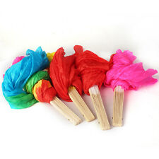 1.8M Colorful Hand Made Belly Dance Dancing Silk Bamboo Long Fans Veils 4 Colors