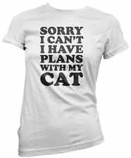 Hotscamp Gift for Cat Owner Sorry I Can't I have Plans With My Cat Girls T-Shirt