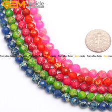 "6mm 8mm 10mm 12mm Faceted Round Crazy Lace Agate Beads Strand 15"" Various Colors"
