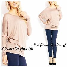 NWOT SEXY BASIC SOLID BEIGE LOOSE BOATNECK LONG SLEEVE PIKO STYLE DOLMAN SHIRT