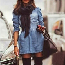 Vogue Fashion Womens Slim Fit Denim Jean Trench Coat Long Jacket Outwear Dresses