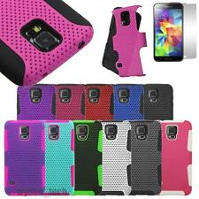 For Samsung Galaxy Hybrid Mesh Perforated Hard Gel Case Shockproof Cover +Film