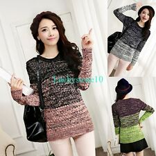 Casual Women Crewneck Gradient Color Long Sleeve Knitted Sweater Pullover Jumper