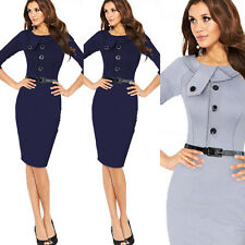 New Womens Back Zip Tunic Business Work Party Cocktail Pencil Sheath Dress +Belt