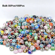 Wholesale 10/50/100Pcs Mixed Bulk Murano Glass Charm Spacer Beads For Bracelet