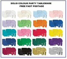 SOLID COLOUR TABLEWARE - PAPER NAPKINS - PLATES - CUPS - PLASTIC CUTLERY