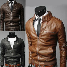Men's 5 size Sexy Slim Fit PU Leather Short Jacket Coat Top Designed Outerwear