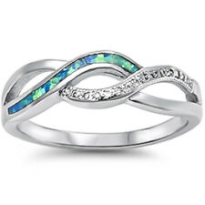 Blue Opal & Cz Infinity Style .925 Sterling Silver Ring Sizes 5-10