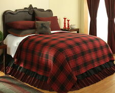 CABIN RED & BLACK Full Queen or King COVERLET :  LODGE PLAID PRIMITIVE BEDSPREAD