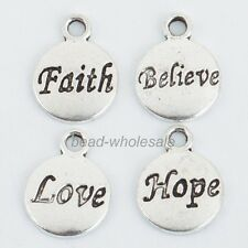 50Pcs Retro Silver Hope/Faith/Love/Believe Charms Pendant For Jewelry Making10mm