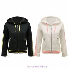 NEW LADIES STYLISH HOODIE ZIP UP CASUAL CROPPED WOMENS BOMBER BIKER JACKET COAT