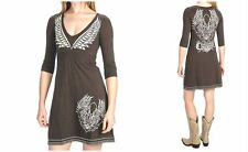 Rock & Roll Cowgirl S M Fleur De Lis Brown Embroidered Wing LOGO Western Dress