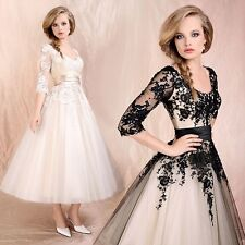 Floral Applique Prom Gown Evening Cocktail Party Formal Wedding Lace Dress 8-22