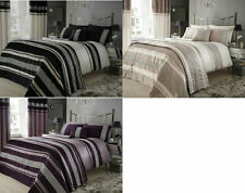 NEW DESIGN METALLIC SOFT SATIN EMBELLISHED DUVET COVER SET CHOICE OF 3 COLOURS
