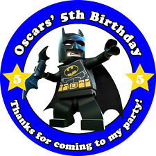 Personalised batman birthday lego blocks stickers treat bags toppers sticker