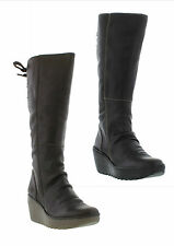 Fly London YUST Womens Zip Up Wedged Leather Boot Sizes UK 4 - 8