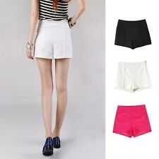 Hot Pants Casual Flirty Womens Ladies Side Zip High Waisted Shorts