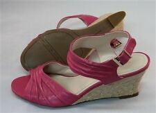 Nine West New Womens Pink Wedge Heel Leather Sandals Shoes Sz 6 8 & 9.5 Ret$89 H