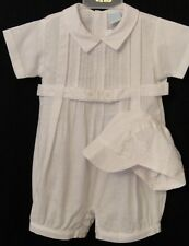 Will'beth 77702  Dressy White Romper With Tucks ,Belt and Hat. Boys 12-24 M  NWT